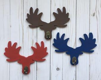 Moose Gift, Lumberjack Nursery Organization, Moose Head Decor, Moose Hook, Wooden Coat Hook, Woodland Nursery Hook, Camping Nursery Storage