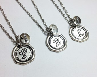 set of 3 initial necklace - personalized necklace - friend necklace - friendship necklace - girlfriend gift