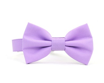 Lilac Dog Bow Tie Collar Dog Wedding Bowtie Collar Solid Light Purple Dog Bowtie