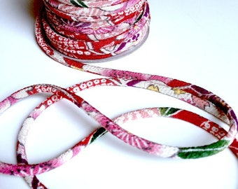 cords 2mm, Chirimen Japanese, pattern cherry blossom, red (C3006-2)