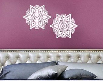 Wall Decals, Victorian Pineapple Design Crochet Lace Doilies, Romantic Bedroom Decor, DIY Home Decorating, 2 - 12.5 inch Wall Decal Stickers