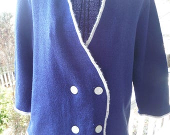 1950's Blue & White Trim Double Breasted Light Weight Sweater