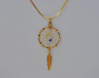 Small Gold Dreamcatcher Necklace with blue bead, Native American inspired, tribal, gold dream catcher necklace, dreamcatcher jewelry, boho
