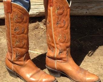 Tall Cowboy Boots Vintage 1980's Acme Size 8.5 -9 B