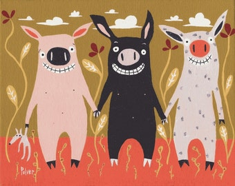 3 Little Pig Card  - Humorous and Whimsical Folk Art Animal Card