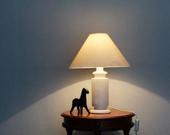 Vintage lamp,  white lamp, classic, mid-century modern lamp, desk lamp, white porcelain lamp