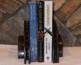 Industrial Steampunk brake drum or rotor book ends