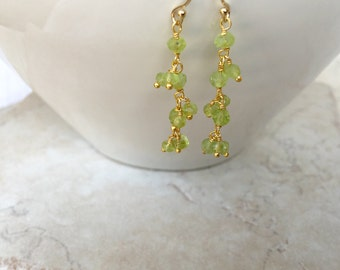 Peridot Gemstone Earrings August Birthstone Peridot Earrings Bridal Earrings Bridesmaid Earrings Dressy Earrings Feminine Earrings
