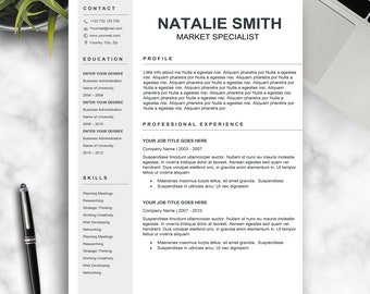 Resume Template / CV Template + Cover Letter | Instant Digital Download | Teacher Resume | Professional and Creative Resume l Black & White