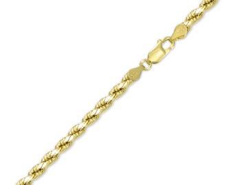 "10K Yellow Gold Hollow Diamond Cut Rope Bracelet 4.0mm 7-9"" - Chain Link"