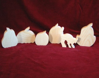 Halloween Assortment, 6 Pieces of Unfinished Pine Cutouts