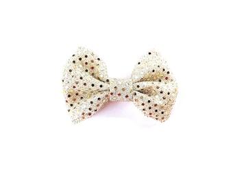 Bow Headband / Bow Tie / Gold Bow Tie / Gold Bow Hair Clip / Gold Bow Tie / Gold Glitter Hair Bow / Sparkly Hair Bow