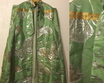 Vintage Green, Silver and Gold Butterfly Cape with Matching Clutch