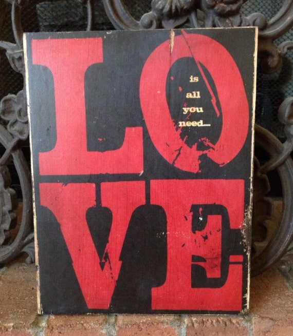 Valentines Gift For Her, Love Is All You Need Wood Sign, Love Sign For Him, Valentine Gift For Boyfriend, Valentines Day Art, Wood Love Art