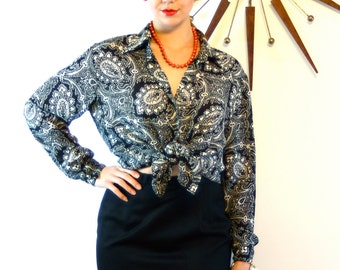 Vintage 80s Diane Von Furstenberg Blouse Paisley Print Black & White Collar Long Sleeve Button Down Ladies Shirt 1980s DVF Loose Fit Top