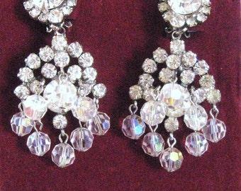 Vintage D&E Chandelier Earrings Juliana Cascading Crystal Rhinestone + Dangle Iridescent AB Glass Beads, 2.5 Inch Length 50's 60's
