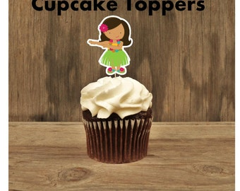 Luau Party- Set of 12 Brunette Hula Girl Cupcake Toppers by The Birthday House