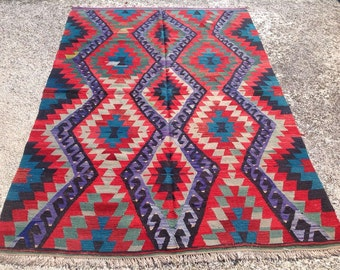 Tappeti Kilim Usati : Diamond design kilim rug vintage