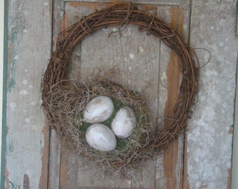 Primitive rustic shabby cottage chic paper mache cream Easter egg spring bird nest grapevine wreath front door