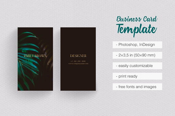 Classy Black Gold Green Business Card Template Minimalist