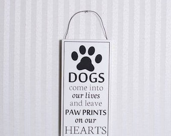 Wood Dog's Paw Print Sign