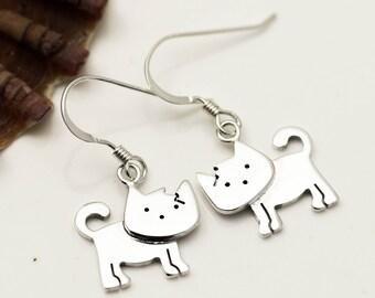 Sterling Silver Cat Earrings - Drop Earrings