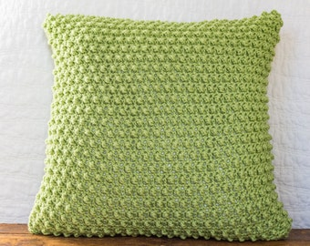 "Textured lime green crocheted 18x18"" pillow cover"