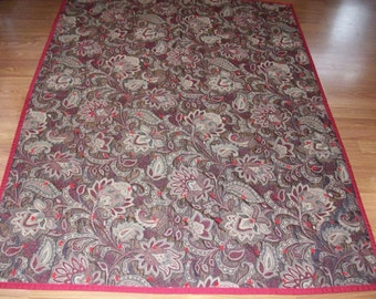 restored vintage paisley throw, quilt  68 x 52