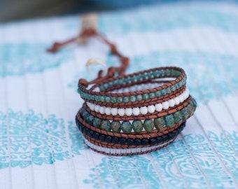 Boho Chic Beaded Leather Wrap Bracelet