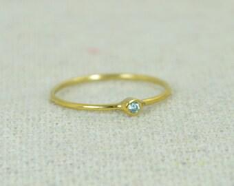 Tiny Aquamarine Ring, Gold Filled Aquamarine Stacking Ring, Gold Filled Aquamarine Ring, Mothers Ring, March Birthstone, Aquamarine Ring