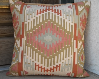 "Southwestern Pillow Cover 16"" x 16"" to 24"" x 24"". Soft but sturdy, handmade in Taos."