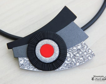 Black white necklace, Modern red necklace, Avantgarde necklace, Abstract Necklace, Extravagant Jewelry, Inspirational gift for woman