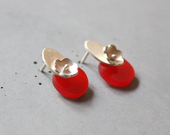 Sterling Silver Stud Earrings with Flower and Red Plexi, Elegant Earrings, Contemporary Jewelry