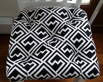 Tufted chair pad seat cushion, Shakes geometric black and white cotton