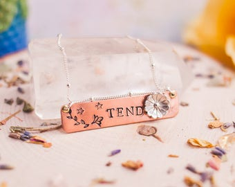 Tend Copper Necklace - Boho Necklace - Word of the Year Necklace