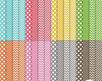 Digital Paper - Everyday 32 sheets - Rainbow - Polka Dots Chevrons Diagonal - Scrapbooking G7343