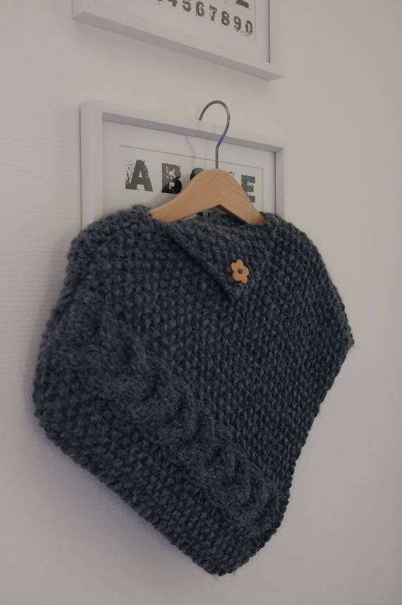 Knitted baby poncho - baby wool poncho - toddler poncho - hand knitted alpaga poncho -  baby girl poncho - celtic baby poncho - aran poncho
