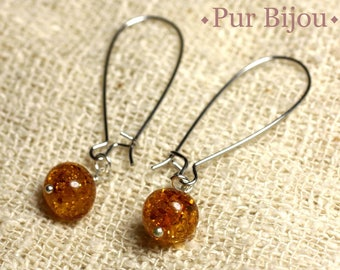 Amber earrings natural 8-9mm long hooks silver plated