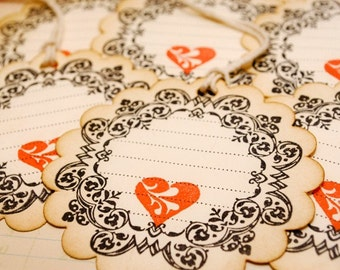 Scalloped Edge Round Vintage Journaling Love Tags Set of 6