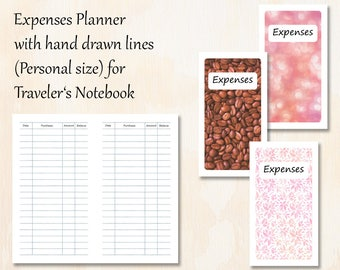 Personal TN   3 covers   Expenses Planner with hand drawn lines for Traveler's Notebook   Planner Insert