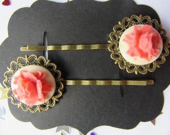 Copper Base, Pink Rose Vintage Hair Bobby Pins