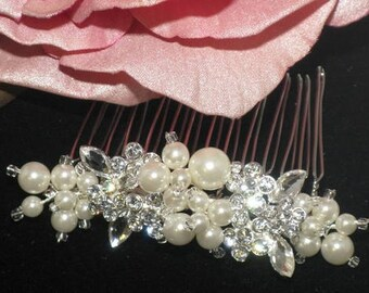 FREE SHIPPING - pearl wedding comb, rhinestone pearl wedding comb, wedding comb, ivory pearl comb, bridal hair comb, wedding hair comb