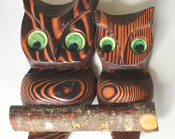 Vintage hand carved wood owls on branch yellow or green eyes carving ribbed 8""