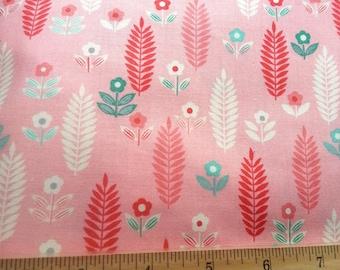 "Pink Aqua Blue Cream White Wheat Flowers Cotton Fabric 16"""