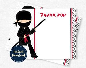Ninja Thank You, Ninja Thank You Cards, Ninja Notecards Printable INSTANT DOWNLOAD