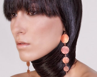 """Solid Copper-Graduated Disc-""""Moon""""-Metal Disc-Earrings / Free US Shipping"""