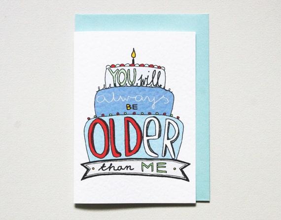 Funny birthday card friend hand drawn card birthday card like this item bookmarktalkfo Gallery