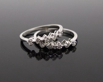 Vintage Stackable Diamond Rings, 18kt White Gold, circa 1940