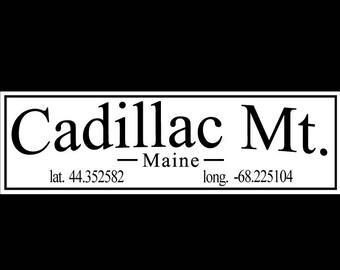 Cadillac Mountain, Acadia National Park, Maine with Latitude and Longitude