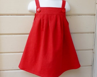 Toddler Girls Winter Holidays Retro Linen Jumper Made by Custom Order in Sizes 1T through 3T